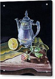 Still Life With Lemon And Rose Acrylic Print by Irina Sztukowski
