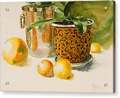 Still Life With Lemons And Potted Plant Acrylic Print by Pablo Rivera