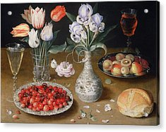 Still Life With Lilies, Roses, Tulips, Cherries And Wild Strawberries Acrylic Print by Osias the Elder Beert