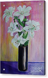 Lilies - Painting Acrylic Print by Veronica Rickard