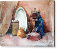 Watercolor Still Life With Rustic, Old Miners Lamp Acrylic Print
