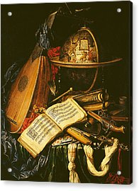 Still Life With Musical Instruments Oil On Canvas Acrylic Print by Flemish School