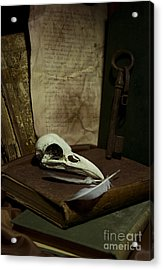 Still Life With Old Books Rusty Key Bird Skull And Feathers Acrylic Print by Jaroslaw Blaminsky