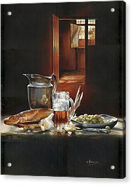 Still Life With Olives And Fish Acrylic Print by Victor Mordasov