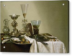 Still Life With Oysters And Nuts, 1637 Oil On Panel Acrylic Print by Willem Claesz. Heda