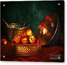Acrylic Print featuring the digital art Still Life With Peaches And Copper Bowl by Lianne Schneider