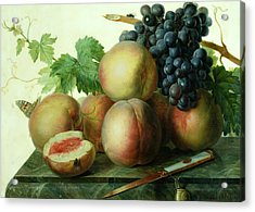 Still Life With Peaches And Grapes On Marble Acrylic Print