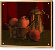 Still Life With Peaches Acrylic Print by Meg Shearer