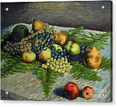 Still Life With Pears And Grapes Acrylic Print
