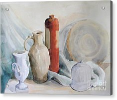Watercolor Still Life With Pottery And Stone Acrylic Print