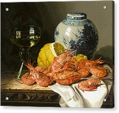 Still Life With Prawns And Lemon Acrylic Print by Edward Ladell