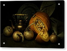 Still Life With Pumpkin And Onions Acrylic Print
