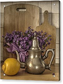 Still Life With Purple Flowers And Citron Acrylic Print