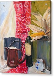 Still Life With Red Cloth And Pottery Acrylic Print by Greta Corens