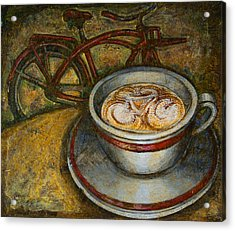 Still Life With Red Cruiser Bike Acrylic Print by Mark Jones