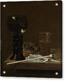 Still Life With Roemer, Beer Glass And A Pipe Acrylic Print by Litz Collection