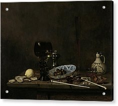 Still Life With Roemer, Flute Glass, Earthenware Jug Acrylic Print by Litz Collection