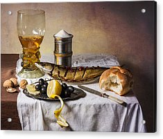 Still Life With Roemer-great Salt-fish And Bread Acrylic Print