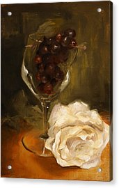 Still Life With Rose Acrylic Print by Alison Schmidt Carson