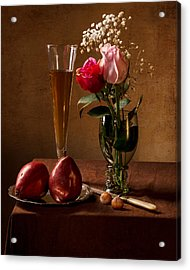 Still Life With Roses In Small Roemer And Two Red Pears Acrylic Print by Levin Rodriguez