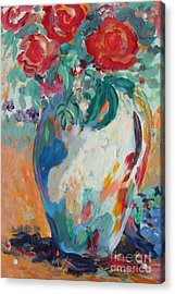 Acrylic Print featuring the painting Still Life With Roses Partial View by Avonelle Kelsey