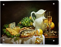 Still-life With Smoked Fish And Cream Cheese Both Fresh Fruit And Fragrant White Wine Acrylic Print by Marina Volodko
