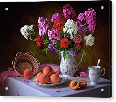 Still Life With Summer Bouquet And Peaches Acrylic Print