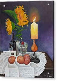 Still Life With Sunflowers Acrylic Print by Sunny  Kim