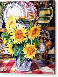 Acrylic Print featuring the painting Still Life With Sunflowers  by Trudi Doyle