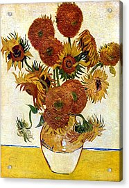Still Life With Sunflowers Acrylic Print by Vincent Van Gogh