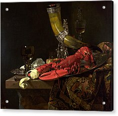 Still Life With The Drinking-horn Of The St. Sebastian Archers Guild, Lobster And Glasses, C.1653 Acrylic Print by Willem Kalf
