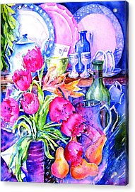 Still Life With Tulips  Acrylic Print by Trudi Doyle