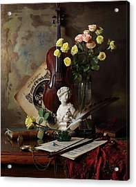 Still Life With Violin And Bust Acrylic Print by Andrey Morozov