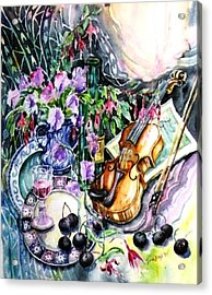Still Life With Violin And Cherries Acrylic Print by Trudi Doyle