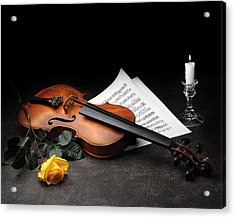 Still Life With Violin Acrylic Print