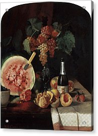 Still Life With Watermelon Acrylic Print by William Merritt Chase