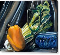 Still Life With Yellow Pepper Bok Choy Glass And Dish Acrylic Print by Donna Tuten