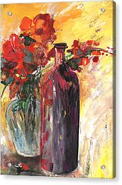 Still Live With Flowers Vase And Black Bottle Acrylic Print by Miki De Goodaboom