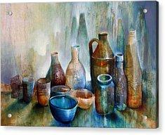 Stillleben Mit Blauer Schale Acrylic Print