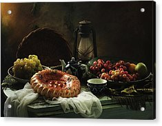 Stilllife  With Cake And Grapes Acrylic Print