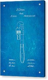 Stillson Wrench Patent Art 1870 Blueprint Acrylic Print by Ian Monk