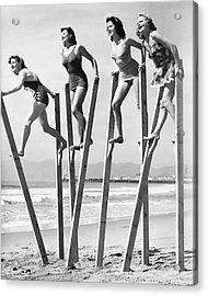 Stilt Walking On The Beach Acrylic Print
