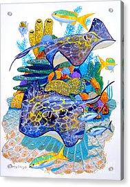 Stingray Play Acrylic Print by Carey Chen