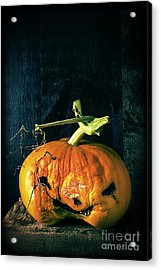 Stingy Jack - Scary Halloween Pumpkin Acrylic Print by Edward Fielding