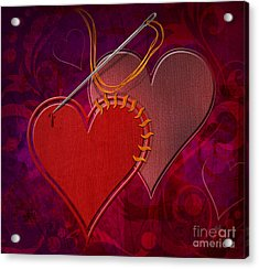 Stitched Hearts Acrylic Print by Bedros Awak