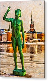 Stockholm Statue Digital Painting Acrylic Print by Antony McAulay