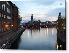 Stockholm Vasabron And The City Hall By Night Acrylic Print by Pejft