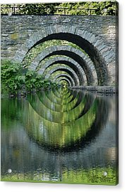 Stone Arch Bridge Over Troubled Waters - 1st Place Winner Faa Optical Illusions 2-26-2012 Acrylic Print by EricaMaxine  Price