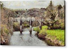 Acrylic Print featuring the digital art Stone Bridge by Kai Saarto