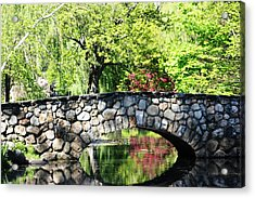 Acrylic Print featuring the photograph Stone Bridge Reflection by Judy Palkimas